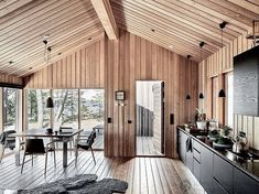 home decorators collection Tiny House Cabin, Cabin Homes, Log Homes, Tiny Cabins, Modern Wooden House, Wooden House Design, Modern Cabin Interior, Modern Cabins, Weekend House