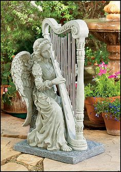 garden sculptures and statues | angel and harp windchimes garden sculpture statue beautiful statue of