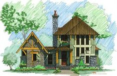 Cozy Mountain Front Elevation -- Natural Element Homes, love this, but not the extension. Timber Frame Home Plans, Timber Frame Homes, Timber House, Metal Homes, Dream House Plans, Small House Plans, House Floor Plans, Dream Houses, Log Cabin Plans