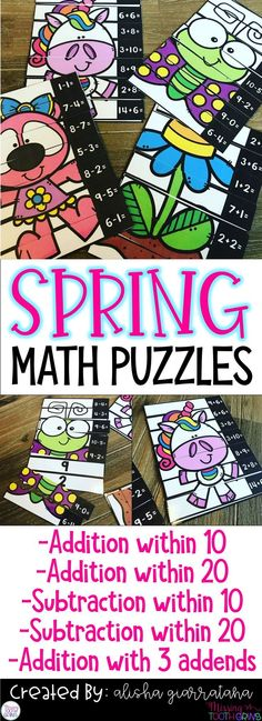 Have your students build their math fact fluency in a fun and meaningful way with math puzzles! Math Strategies, Math Resources, Classroom Resources, Classroom Ideas, Kindergarten Math Activities, Teaching Math, Primary Teaching, 1st Grade Math, Grade 2