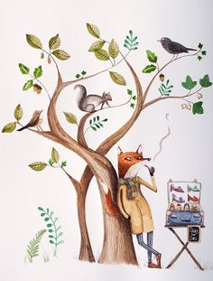fox - watercolour