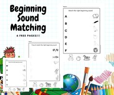 Kindergarten free phonics beginning sound matching printable activity worksheets. Beginning Sounds Kindergarten, Beginning Sounds Worksheets, Kindergarten Activities, Matching Worksheets, Printable Worksheets, Teaching Phonics, Homeschool, Free, Nursery Activities