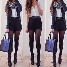 Love the high waisted shorts in this outfit