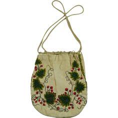 Antique Georgian Embroidered Silk Reticule Purse Circa 1800 Stunning