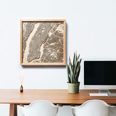 Minimalist City Street Maps Made From Layers of Laser-Cut Wood on domino.com