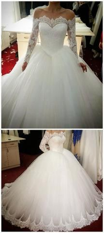 Long Sleeves Lace Wedding Dress,Off Shoulder Long Sleeves Ball Gown Tulle Bridal Dress
