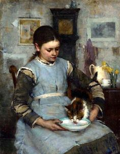 A New Arrival by Walter Frederick Osborn. Walter Frederick Osborne ( 1859 – was an Irish impressionist and Post-Impressionism landscape and portrait painter. Irish Painters, Photo Chat, Irish Art, Illustration, Cats And Kittens, Ragdoll Kittens, Funny Kittens, Bengal Cats, White Kittens
