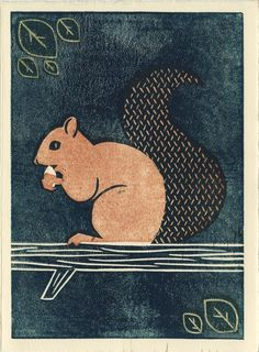 SQUIRREL - Original Linocut 5 x 7 Wood Block Art Illustration Print, Brown, Woodland, Wall Decor