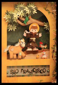 São Francisco St Francis Assisi, Saint Francis, San Francisco, St Clare's, Patron Saints, Punch Art, Nativity, Paper Art, Origami
