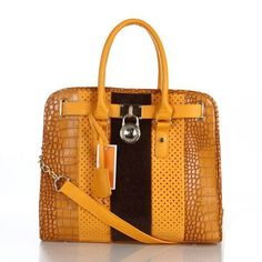 Michael Kors Hamilton Hair Calf Embossed Medium Yellow Totes only Gold And Black Heels, Black Strappy High Heels, Red Stiletto Heels, Blue Pumps, Cheap Michael Kors, Handbags Michael Kors, Michael Kors Hamilton, Small Black Crossbody Bag, Crossbody Bags