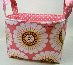 PK Fabric Basket in Courtney in Pink  Ready To Ship  by PKStuff, $14.50