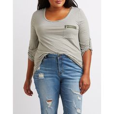 Charlotte Russe Scoop Neck Zip-Pocket Tee ($19) ❤ liked on Polyvore featuring plus size women's fashion, plus size clothing, plus size tops, plus size t-shirts, olive combo, striped t shirt, blue t shirt, plus size t shirts, plus size 3/4 sleeve tops and 3/4 sleeve t shirts