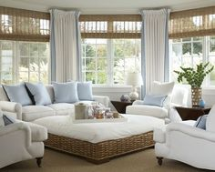 comfortable inviting room, love all of the windows