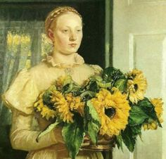 ⊰ Posing with Posies ⊱ paintings of women and flowers - Michael Ancher | Woman with Sunflowers (detail), 1893