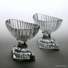 Pair of Georgian Irish Glass Standing Salts c1780