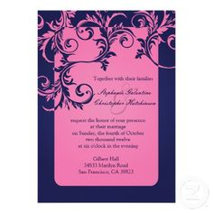 Floral Navy and Pink Wedding Invitations