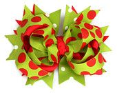 Green red Christmas polka dot hair bow, stacked hair bows, girls, babies, toddlers, boutique hair bow,