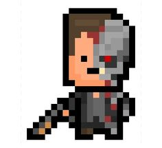 """The Terminator, the ass kicking, time travelling T-800 Cyborg and titular hero / villain of the """"Terminator"""" series, now turned into an 18 x 22 pixel sprite.  There is of course no better way to blend into your surroundings then as a huge musclebound Austrian man."""