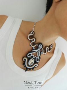 'Le petit jardin' custom order mini collection. OOAK soutache necklace. #soutache #necklace #modern #design #unique #magdotouch #artistic #jewelry