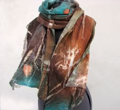Nuno felted hand dyed scard