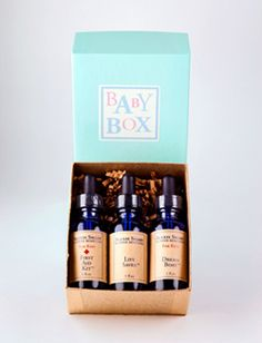 Baby Box — Alexis Smart Flower Remedies | Contains two baby formulas (Dream Boat for Kids, to help baby relax and get ready for bed, and First Aid for Kids) and stress relieving/restorative formula for parents