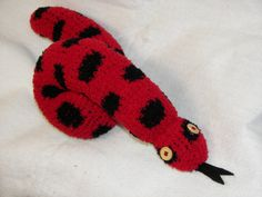 Plush Toy Sock Snake in Red with Black by AsYouWishCreations4u, $12.00