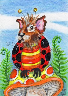 Guinea Pig lady bug aceo EBSQ Kim Loberg Mini art Fantasy insect Mushroom ferns #IllustrationArt