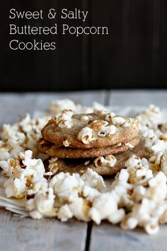 Sweet and Salty Buttered Popcorn Cookies from Dine & Dish inkatrinaskitchen.com #BringtheCOOKIES