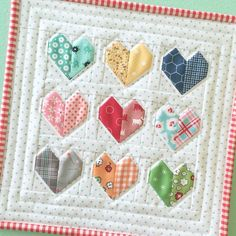 """Scrappy Happy Hearts"" ❤️ Made using baby chick block heart pattern. I must do this ~"