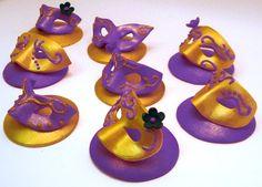 Mardi Gras Fondant mask Masquerade cake decorations by craftyrosy, $30.00