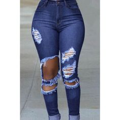 High Waisted Distressed Skinny Jeans in Baby Blue ($45) ❤ liked ...