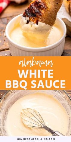 This twist on a traditional BBQ sauce is tangy, creamy and delicious. Put Alabama White BBQ Sauce on your grilled chicken, pulled pork, burgers and more! Dipping Sauces For Chicken, Chicken Sauce Recipes, Barbecue Sauce Recipes, Grilling Recipes, Bbq Sauces, Bbq Sauce For Chicken, Grill Barbecue, Chicken Dips, Bbq Ribs