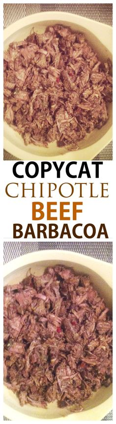 Copycat Chipotle Beef Barbacoa- Easy moist and juicy beef barbacoa inspired by Chipotle- Even better than the original- Paleo and gluten free! Healthy Crockpot Recipes, Clean Recipes, Paleo Recipes, Mexican Food Recipes, Cooking Recipes, Crockpot Meals, Bison Recipes, Freezer Cooking, Slow Cooking