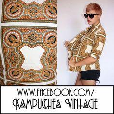 Vintage 1980s Antique Print Womens sz10 Shirt Blouse - Retro Kitsch FREE P