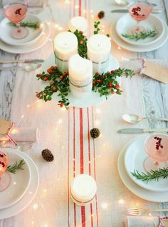 Holiday tables always look special with string light strewn down the middle. #holidaytable