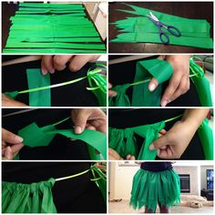 "DIY Courtesy to MsBtrendy on YouTube Supplies: plastic table cover, scissors, ribbon. First fold table cover in half and cut 2in wide strips. Then cut tips of the strips in ""v"" shape to look like leaves. Measure ribbon according to waist size. (As shown) Loop and tie strips onto ribbon. Continue along waist. Grass skirt for under $5! Great for Halloween costume or themed parties! Enjoy!"