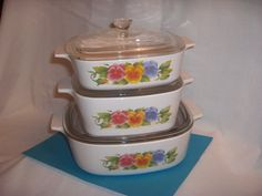 Corning Ware SUMMER BLUSH 6 piece set on Etsy, $30.00