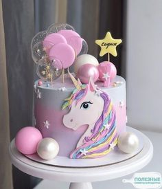 ایده های ناب برای جشن شما - торты на д.р - first birthday cake-Erster Geburtstagskuchen Unicorne Cake, Diy Cake, Cupcake Cakes, Cake Smash, Easy Unicorn Cake, Unicorn Cake Pops, Beautiful Cakes, Amazing Cakes, Snowflake Wedding Cake