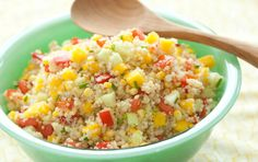 Mango lends a sweet note to this colorful quinoa salad with a variety of flavors and textures. It's equally delicious served warm or chilled. For a true detox friendly recipe, omit corn. :)