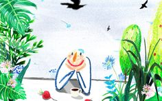 illustration,oil pastel,happiness,smile