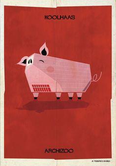 Federico Babina's Archizoo: Illustrations of famous architects' signature buildings and the animals they look like, i.e., Rem Koolhaas Casa da Música looks like a pig.