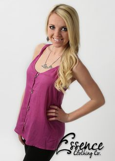 Plum Button-Up Tank $23 Clothing Co, Plum, Button Up, Long Sleeve Shirts, Tank Tops, Chic, Sweaters, Clothes, Dresses