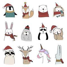 holiday illustration Hand drawn animals enjoying a - holiday Christmas Doodles, Christmas Cartoons, Christmas Drawing, Christmas Art, Christmas Holidays, Christmas Ornaments, Christmas Stickers, Christmas Ideas, Illustration Noel