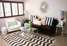 Serendipity Interiors: West Elm zigzag chevron rug, Z Gallerie sofa, brass glass coffee table, white garden ...
