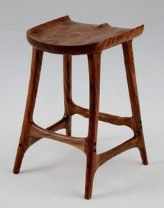 Figured Walnut Bar Stool, unique jointery, sanded to 4000 grit and finished with a special varnish, oil, wax finish. Home Decor Furniture, Wood Furniture, Furniture Design, Wooden Stool Designs, Wood Stool, Woodworking Furniture, Diy Wood Projects, Decoration, Chair Design
