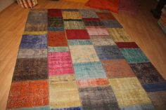 Multi Color Patchwork Rug Overdyed Rug Vintage by AnatolianSpindle
