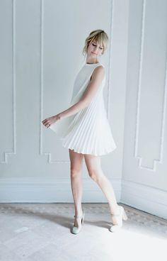 Sunburst Pleated Dress by Alexandra Grecco.