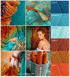 Kleurinspiratie Cinnamon with a Twist / Pippin Poppycock Yarn Color Combinations, Beautiful Color Combinations, Mood Colors, Yarn Colors, Colour Pallete, Colour Schemes, Color Palettes, Moroccan Colors, Color Balance