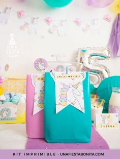 KIT IMPRIMIBLE UNICORNIOS Y DIAMANTES