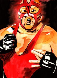 """Vader l Ink and watercolor on 9"""" x 12"""" watercolor paper l #WWE"""